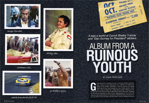 published in Porsche Panorama magazine, April 2012, this article recounts in photos and words Sean Cridland's youth of attending races at Watkins Glen in the late 1960s and early 1970s